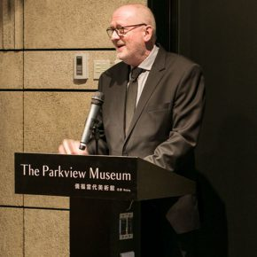 """01 Curator Lorand Hegyi delivered a speech at the opening ceremony 290x290 - Realistic Question: The Parkview Museum Launches the """"Bridging Asia-Europe"""" Series of Exhibitions"""