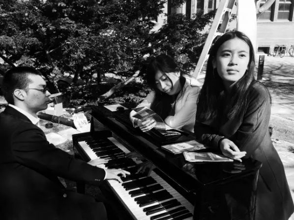 "01 The creative team of the ""Still"", started from the left pianist Chuhan Zhang, composer Sam Wu, artist Liu Wa"