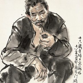09 Lu Chen, Sketch of a Miner, ink and color on paper, 46 x 39.5 cm, 1978