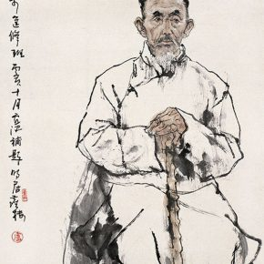 11 Lu Chen, Sketch of a Figure, ink and color on paper, 136 x 69 cm, 1983