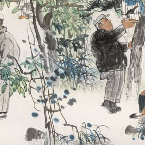 12 Lu Chen, Songbirds, ink and color on paper, 66 x 132 cm, 1990