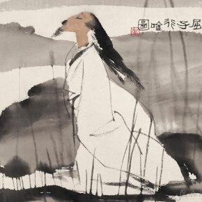 21 Lu Chen, Qu Zi Walked and Recited Poems Figure, ink and color on paper, 45 x 48 cm, 1982