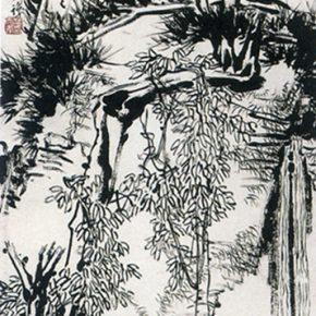 21 Pan Tianshou, Dense Ink Landscape Figure Scroll, Chinese ink painting, 183.3 x 66 cm, 1953