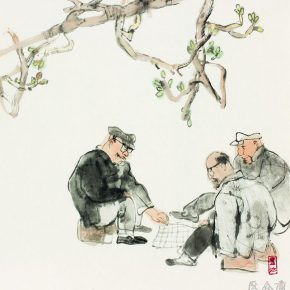 24 Lu Chen, Chess Fans, ink and color on paper, 48 x 45 cm, 1990