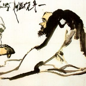 25 Pan Tianshou, A Bold Monk Figure, ink and color on paper, 94.8 x 172 cm, 1922