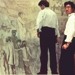 27 Chen Yifei was in front of the painting, photography, variable size, 1980