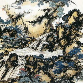 31 Pan Tianshou, A Corner of Xiaolongqiu Pond Figure, Chinese painting, 107.8 x 107.5 cm, 1963