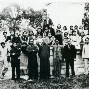 42 Group photo of Pan Tianshou (the fifth person in the front row) and the teachers and students from the National Art School in Panxi, Chongqing, in the 1940s