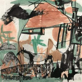 55 Lu Chen, Pasture, ink and color on paper, 68.5 x 68.5 cm, 1989