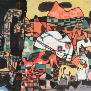 56 Lu Chen, Ink Composition Themed on Inner Mongolia, ink and color on paper, 45 x 48 cm, 1989