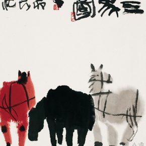 57 Lu Chen, Three Horse Figure, ink and color on paper, 48 x 45 cm, 1986
