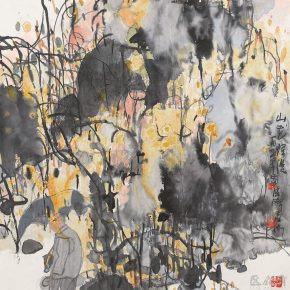 58 Lu Chen, Mountain Flowers Blooming, ink and color on paper, 68.5 x 67.5 cm, 1991