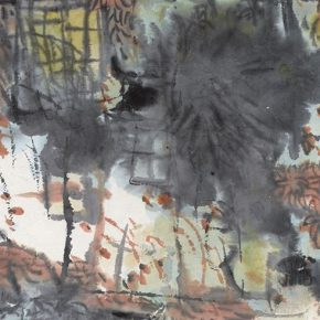 59 Lu Chen, Moon Fascinating, ink and color on paper, 37 x 67.5 cm, 1991