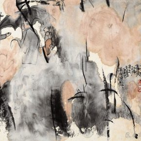 63 Lu Chen, Apricot Flower Spring Rain in the Regions South of the Yangtze River, 34.5 x 36.5 cm, 1991