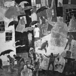 66 Lu Chen, It is Rainy and the Chung Yeung Festival is coming, ink and color on paper, 136 x 136 cm, 1992
