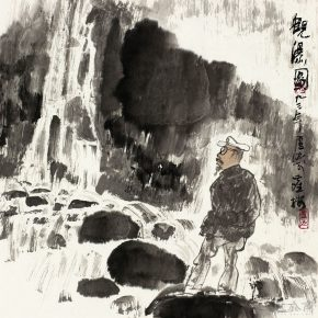 67 Lu Chen, Waterfall, ink and color on paper, 45 x 45 cm, 1993