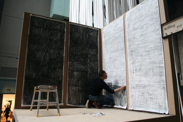 Lam Tung-pang, Selling My Soul, 2010; Charcoal and eraser on paper, 100x240cm, 4 panels