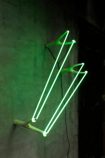 Zhou Wendou, Three Catapults, 2017. Wood, neon light, transformer, 74 x 40 x 30 cm