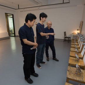 03 From the left to the right Zhang Zikang Director of CAFA Art Museum artist Ji Bei and Lyu Pinchang Director of the Department of Sculpture CAFA 290x290 - The First Exhibition of CAI Young Artist Laboratory: Self – Awareness and Artistic Expression