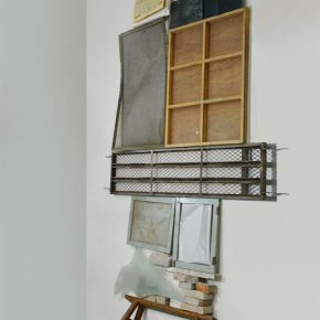 04 Liu Yazhou, Floor-wall Position series Work No.1, ready-made products (a wooden stool, glass, iron frame, etc.), 200 x 350 x50cm