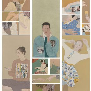 07 Zhang Jinyuan from the School of Chinese Painting, People Living in Clothes, 195 x 62 cm x 3 groups, heavy color on paper, mixed media