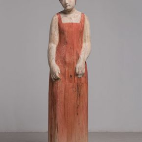 08 Wang Mingze, A Little Clubby Girl, 43 x 39 x 156 cm, camphor wood