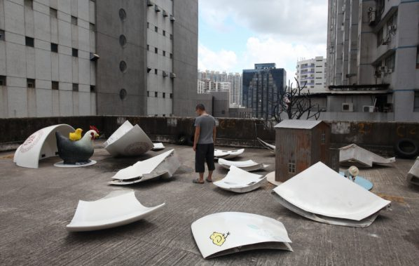 Lam Tung-pang, Being disappeared-Disappeared Hong Kong Art (3), 2013; Fibre glass, cement, paint on wood and metal Dimension Variable