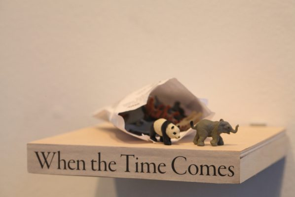 Lam Tung-pang, When the time comes-A group of landscape works from The Curiosity Box, 2013; Newspaper, toys with packing and wooden frame, 6x15x15cm