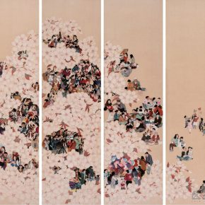 """18 Yang Lan The Peach Garden 175 × 50 cm × 4 ink and color on silk 2016 290x290 - 2017 Lecong Arts & Culture Season """"New Face of the Academy"""" – CAFA Young Artists Academic Invitation Exhibition and Collection Exhibition"""