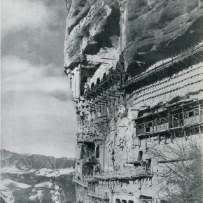 """25 Exterior of the plank road built along the face of a cliff in the Maiji Mountain Grottoes 1953 290x290 - """"The Dimension of Tradition – Copying and the Collection for the National Traditional Painting by CAFA in the 1950s and 1960s"""""""