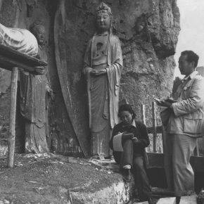 """28 The couple of Wu Zuoren and Xiao Shufang members of the investigation group of Maiji Mountain Grottoes sketched in front of the cave of the Song Dynasty in 1953 photograph courtesy of Li Ruinian 290x290 - """"The Dimension of Tradition – Copying and the Collection for the National Traditional Painting by CAFA in the 1950s and 1960s"""""""