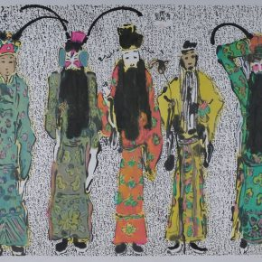 41 Zhu Zhengeng, Opera Characters, ink and color on paper, 125.5 x 158 cm, 2010
