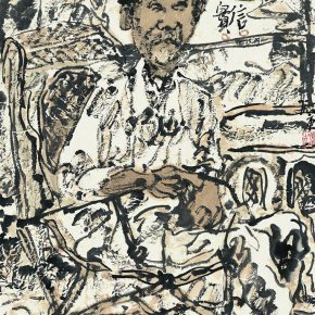 55 Zhu Zhengeng, Portrait, ink and color on paper, 34 x 46 cm, 2007