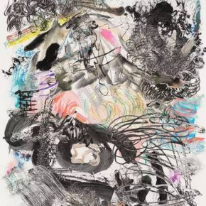 Wu Jianan 500 Brushstrokes 25 2017 painting ink watercolor papercut and collage on Xuan paper 250x200cm 290x290 - Daydream Forest: Wu Jianan's Image World Exhibiting at University of Chicago Center in Beijing