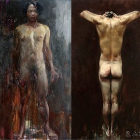 05 Ma Lei, Forty Years Old, oil on canvas, 180 × 100 cm x 2 pieces, 2016