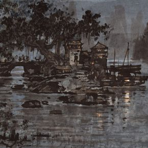 09 Zong Qixiang Bridgehead of the Town 32 x 45.5 cm 1978 1 290x290 - Yu Yang: Centennial Exhibition of Zong Qixiang and the Integration & Exploration of Night Landscape Painting