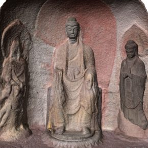 """10 Digital recovery figure of the right shrine of the Cave 2 1 290x290 - A New Approach to the Study on Art History in the Digital Age: OCAT Institute Exhibited the """"Original Appearance"""" of Tianlongshan Grottoes"""