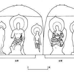 "11 Line drawing figure of Cave 14, image courtesy of the ""Tianlongshan Grottoes"" edited by Li Yuqun, Li Gang"