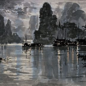 15 Zong Qixiang Night on the Lijiang River 51.5 x 80.5 cm 1982 1 290x290 - Yu Yang: Centennial Exhibition of Zong Qixiang and the Integration & Exploration of Night Landscape Painting