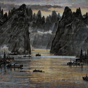 18 Zong Qixiang, Night Sailing at the Three Gorges, 69 x 139 cm, ink and color on paper, 1977
