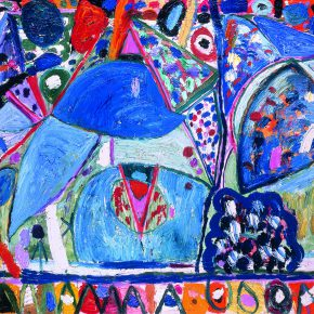 "29 Gillian Ayres Turkish Blue and Emerald Green that in the Channel Stray Oil on canvas 244 x 396 cm 1996 290x290 - Celebration of Life and the Experience of the Sublime: Gillian Ayres' Abstract Painting ""Sailing off the Edge"""