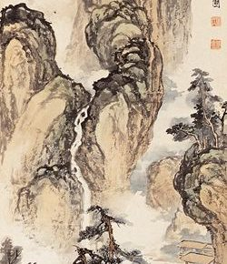 29 Zong Qixiang, A replication of Wu Zhonggui's Hermitage with a River and Woods Figure, 138.5 x 34.5 cm, 1935