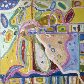 "35 Gillian Ayres Ribble Oil on canvas 163 x 163 cm 2003 2004 290x290 - Celebration of Life and the Experience of the Sublime: Gillian Ayres' Abstract Painting ""Sailing off the Edge"""