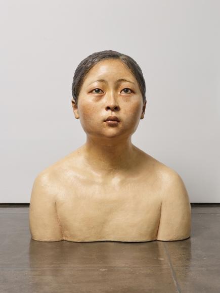 Lí Wei, Hollow Man - Auditory Hallucination, 2008; Painted fiberglass, 82x56x93cm, Installation at Klein Sun Gallery