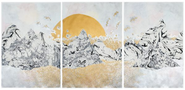 """The Moon and The Tides """"Settling In"""", 111.8 x 228.6 cm (triptych), Gouache, Watercolour and Collage on Paper, 2017"""