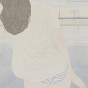 Zhang Jian, Blue Vacation No.3, ink and color on silk, 70 x 50 cm, 2014