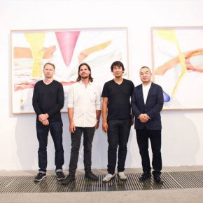 "12 From the left to the right artists David Schnell Michael Sailstorfer and Sebastian Riemer Sun Yongzeng Director of Whitebox Art Center 290x290 - The First Show of ""Next Generation"" Focuses on Young Art Inaugurated the Deutschland 8"