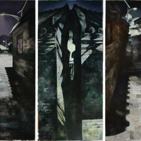 36 Ye Nan, Night of an Ancient Town, oil on canvas, 175 x 80 cm x 3, 2011
