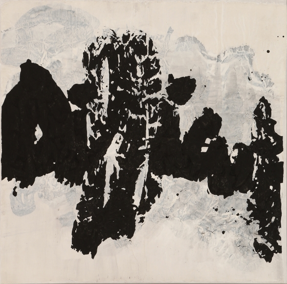 Yang Jiechang, Difficult, 2008; Ink on Xuan paper, mounted on canvas, 105 x 105 cm