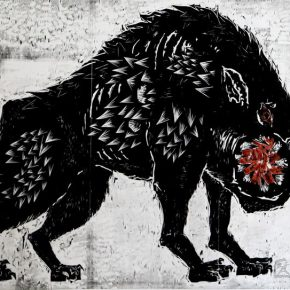 01 Huang Qi Origin No.5 black and white woodcut 70 × 100 cm 2015 290x290 - 2017 Tianjin Youth Art Week: Connecting the Current Era and Urban Life
